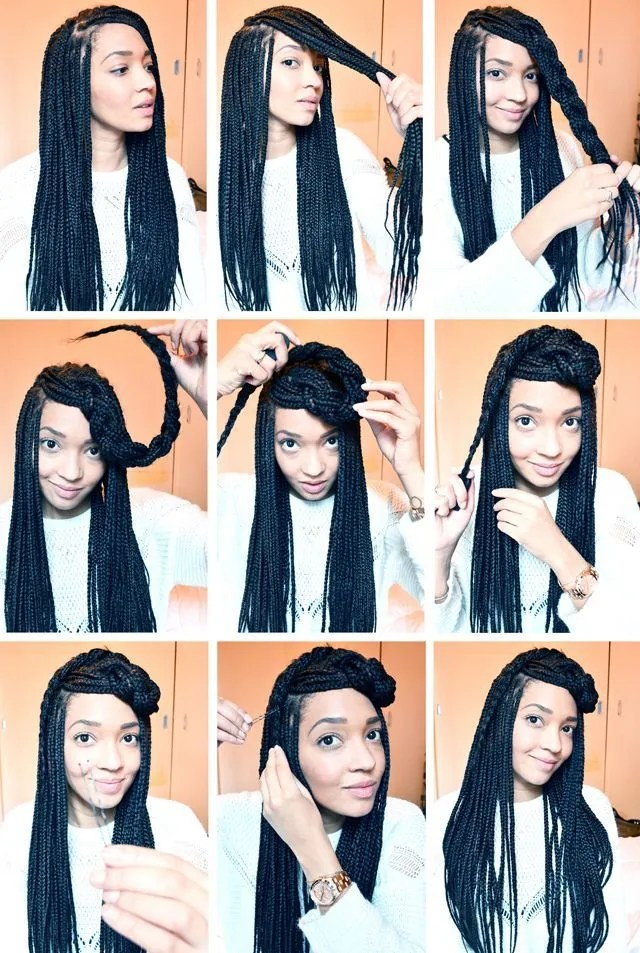 Box Braids Half Up Hairstyle