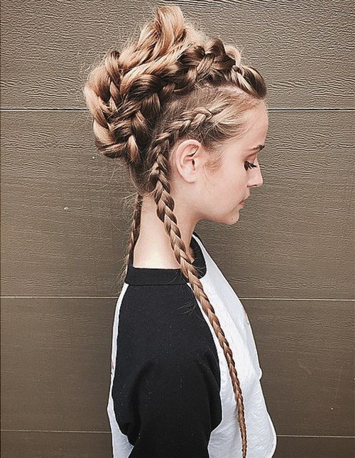 braided Mohawk for long hair