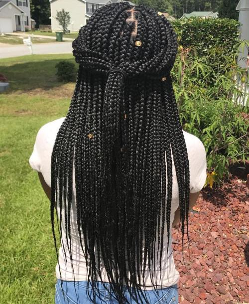 Half Up Ponytail For Box Braids