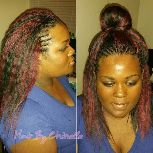 dark brown and burgundy tree braids