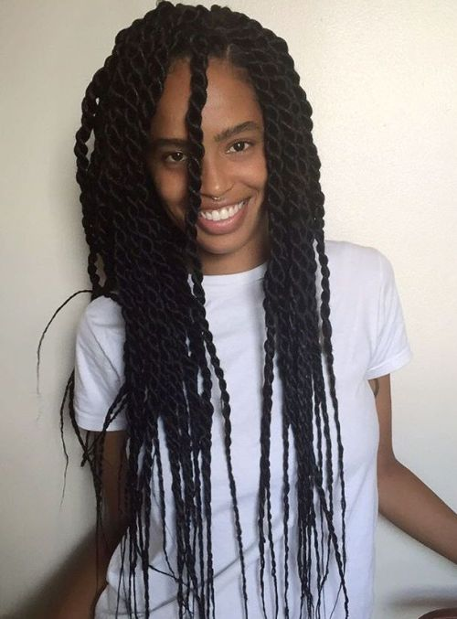 Long Senegalese Twists With Thin Ends