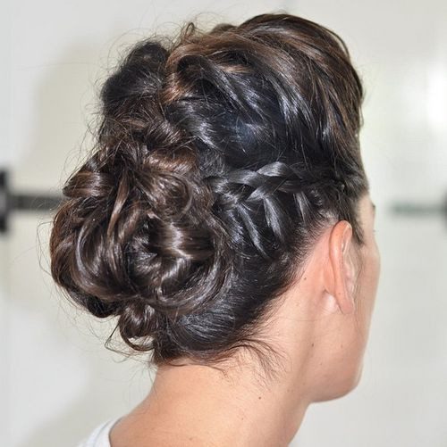 braided and twisted Mohawk updo
