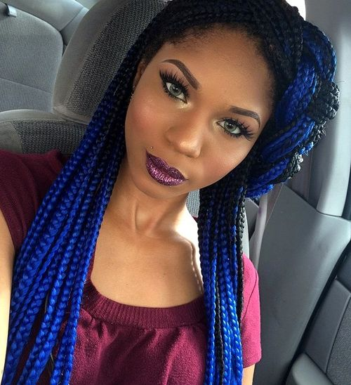 bright blue long box braids