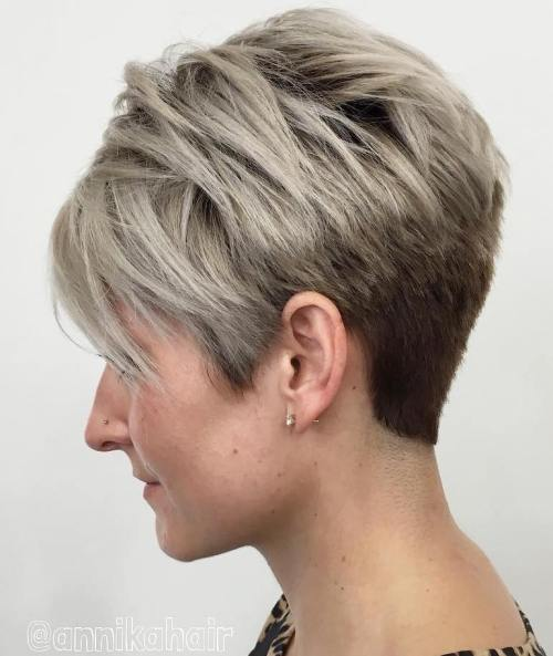 Ash Blonde And Brown Pixie