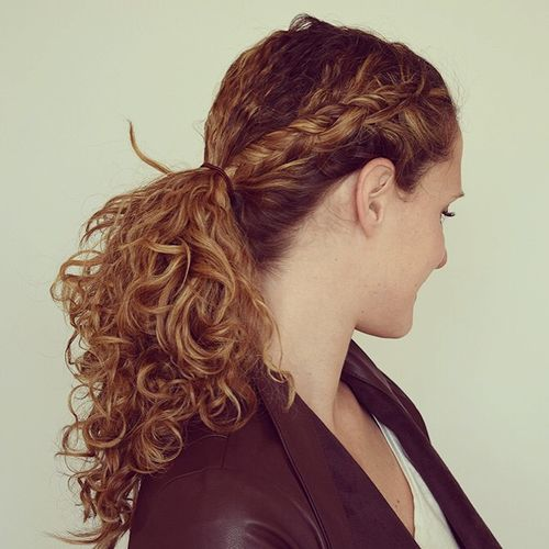 low pony hairstyle for curly hair