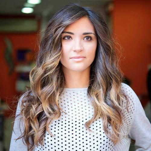 long dark brown hair with caramel balayage