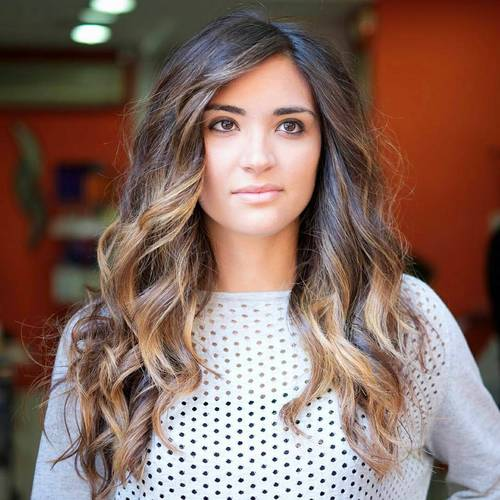 long dark brown hair with caramel balayage