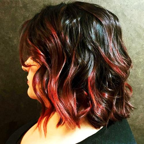 25 thrilling ideas for red ombre hair black wavy bob with red balayage urmus Image collections