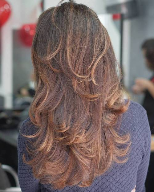 Long Layered Brown Hair With Balayage