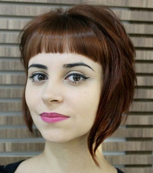 asymmetrical angled bob with short bangs