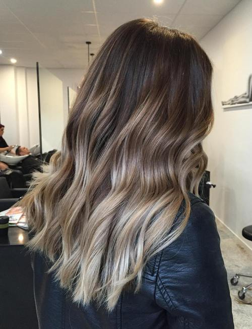 dark brown hair with ash blonde ombre highlights