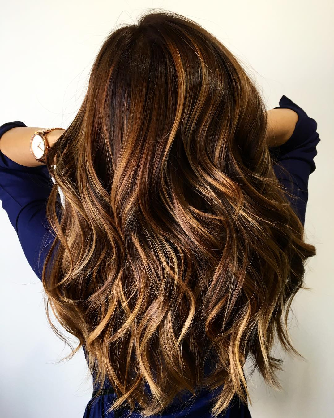 Charming Long Brown Hair With Caramel Highlights