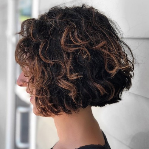 Short Curly Shaggy Brunette Bob