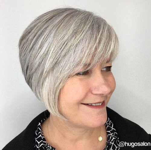 Gray Layered Bob For Women Over 50