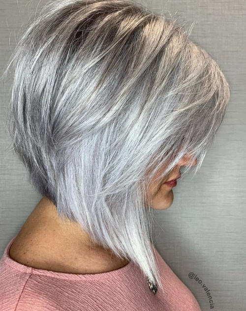 Modern Inverted Silver Bob Haircut