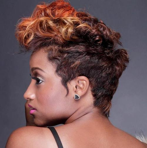 fauxhawk with highlighted bangs for black women