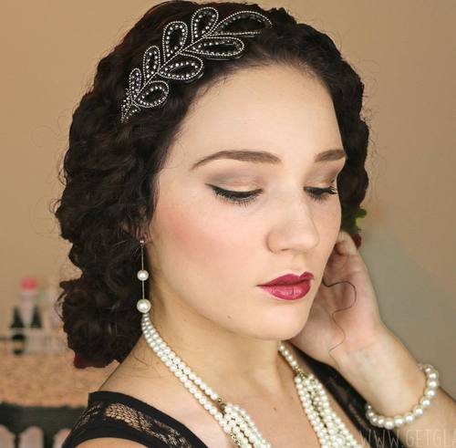 low vintage updo for curly hair