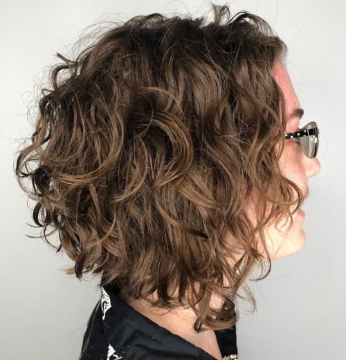 Scrunched Curly Inverted Bob