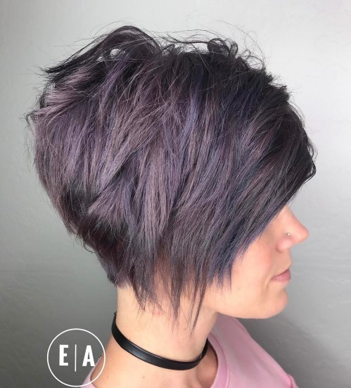 Short Razored Pastel Purple Bob