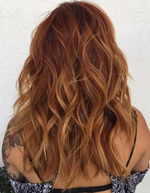 Long Wavy Auburn Hair With Subtle Highlights