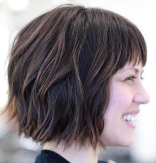 Wavy Choppy Bob With Short Bangs