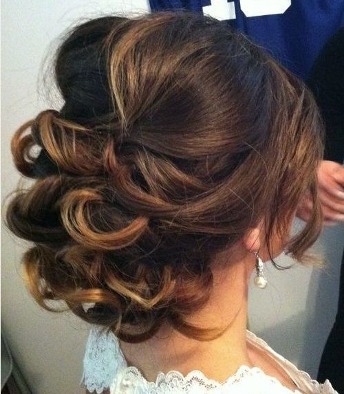 Low Loose Curly Updo for Medium Hair