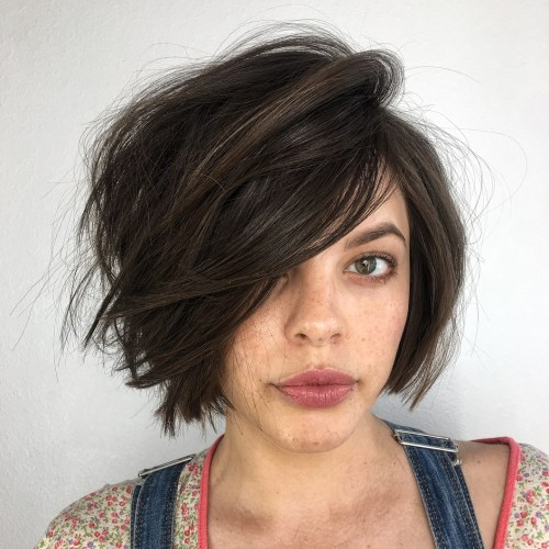 Messy Side-Parted Brown Bob