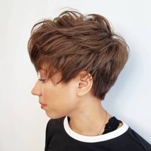 Feathered And Tapered Brown Pixie