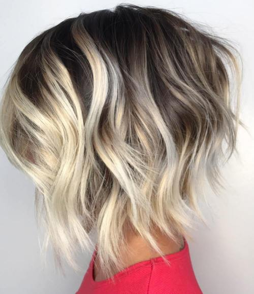 Brown And Blonde Jagged Wavy Bob