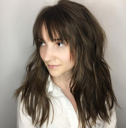 Long Choppy Cut With Bangs