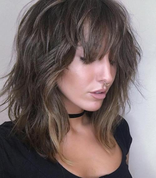 Medium Brown Shaggy Hairstyle