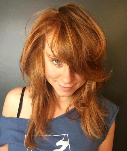 Medium Copper Red Hairstyle With Bangs