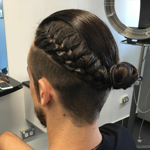 Men Bun With Braid For Undercut