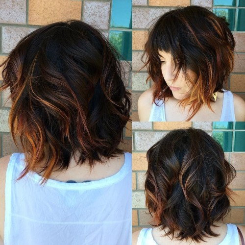 Wavy Choppy Bob With Cropped Bangs