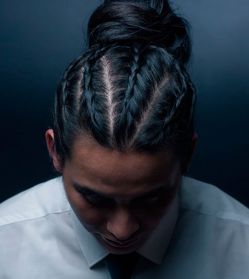 Flat Braids And Bun For Men