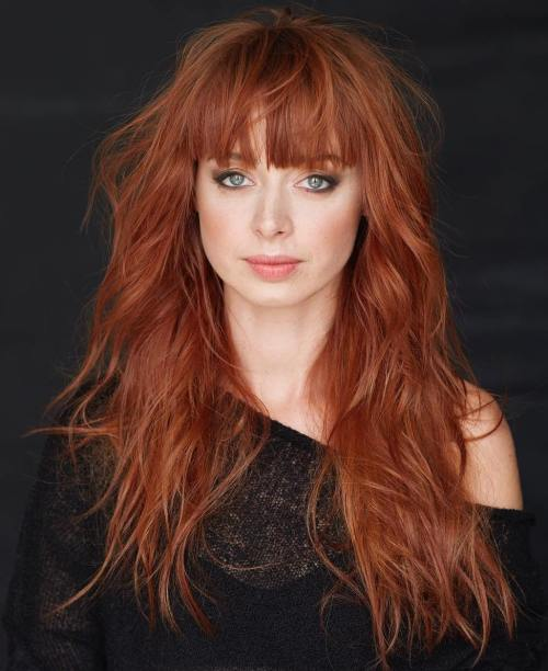 50 lovely long shag haircuts for effortless stylish looks red shag with bangs for long hair urmus Image collections
