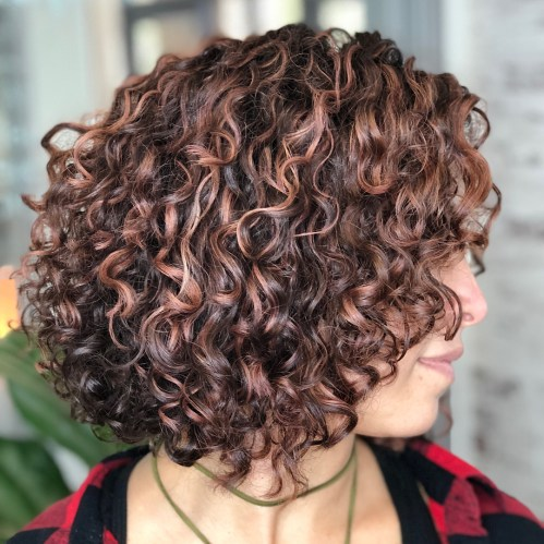 Brown Perm Bob With Caramel Highlights