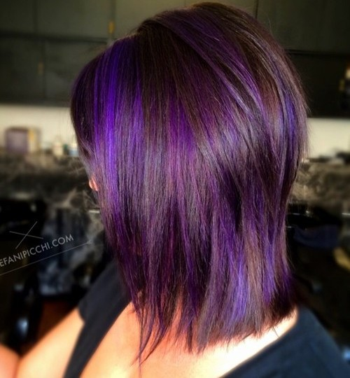 medium layered brown hair with purple balayage