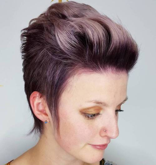 Pastel Purple Pixie With Pompadour Bangs