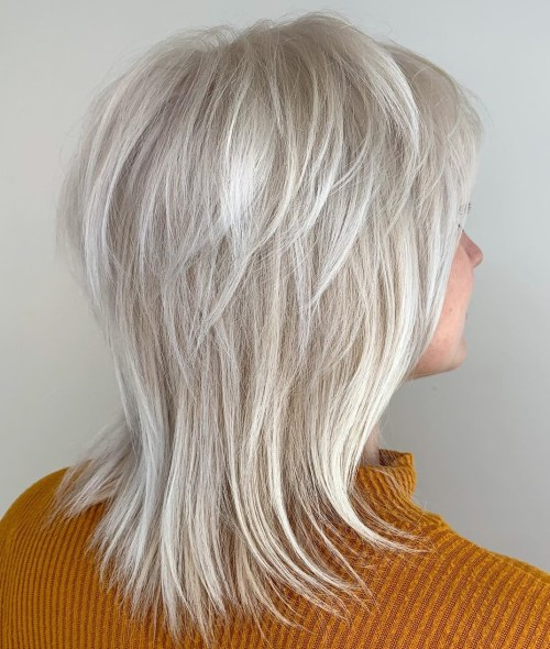 Silver Feathered Shag For Fine Hair