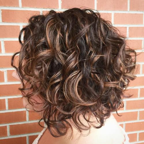 Brunette Angled Curly Bob Hairstyle