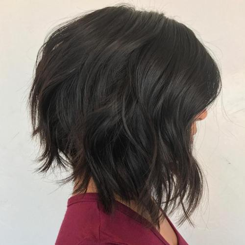 Inverted Chopped Brunette Lob
