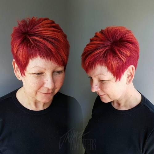 Asymmetrical Choppy Red Pixie