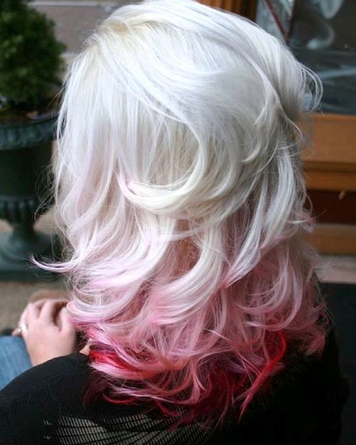 Fashion week Blonde Platinum hair with red for girls