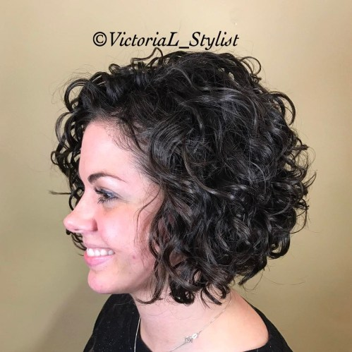 Short Curly Black Bob