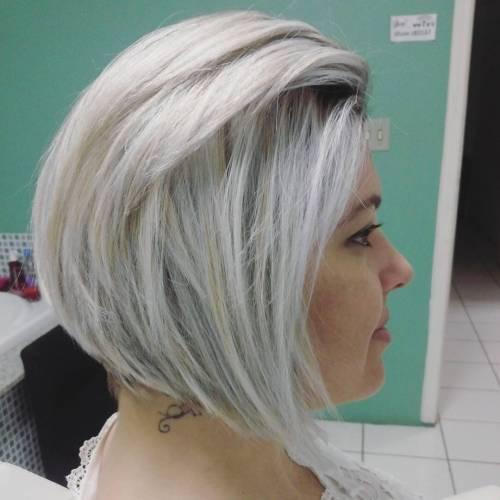 Silver Blonde Angled Bob