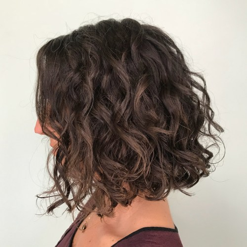 Collarbone Curly Brown Bob