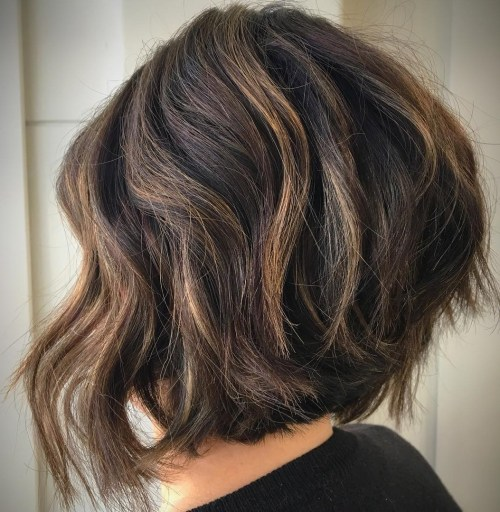 Thick Stacked Wavy Bob With Highlights