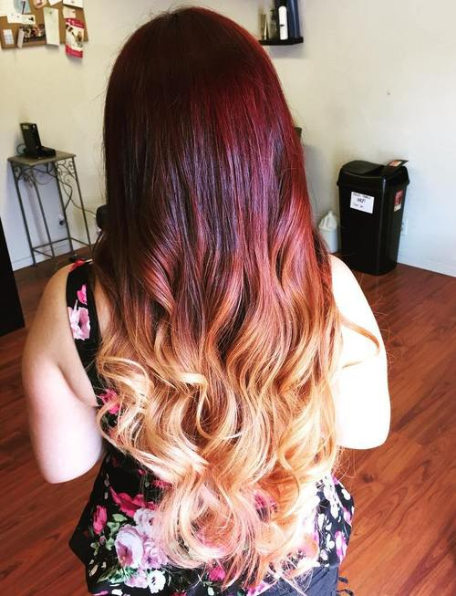brown to blonde ombre with red balayage
