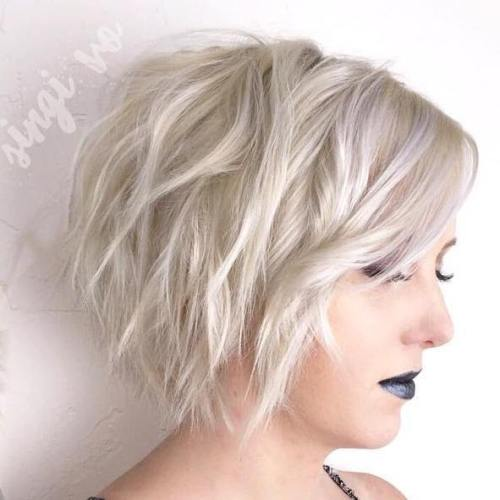 Platinum Blonde Layered Wavy Bob